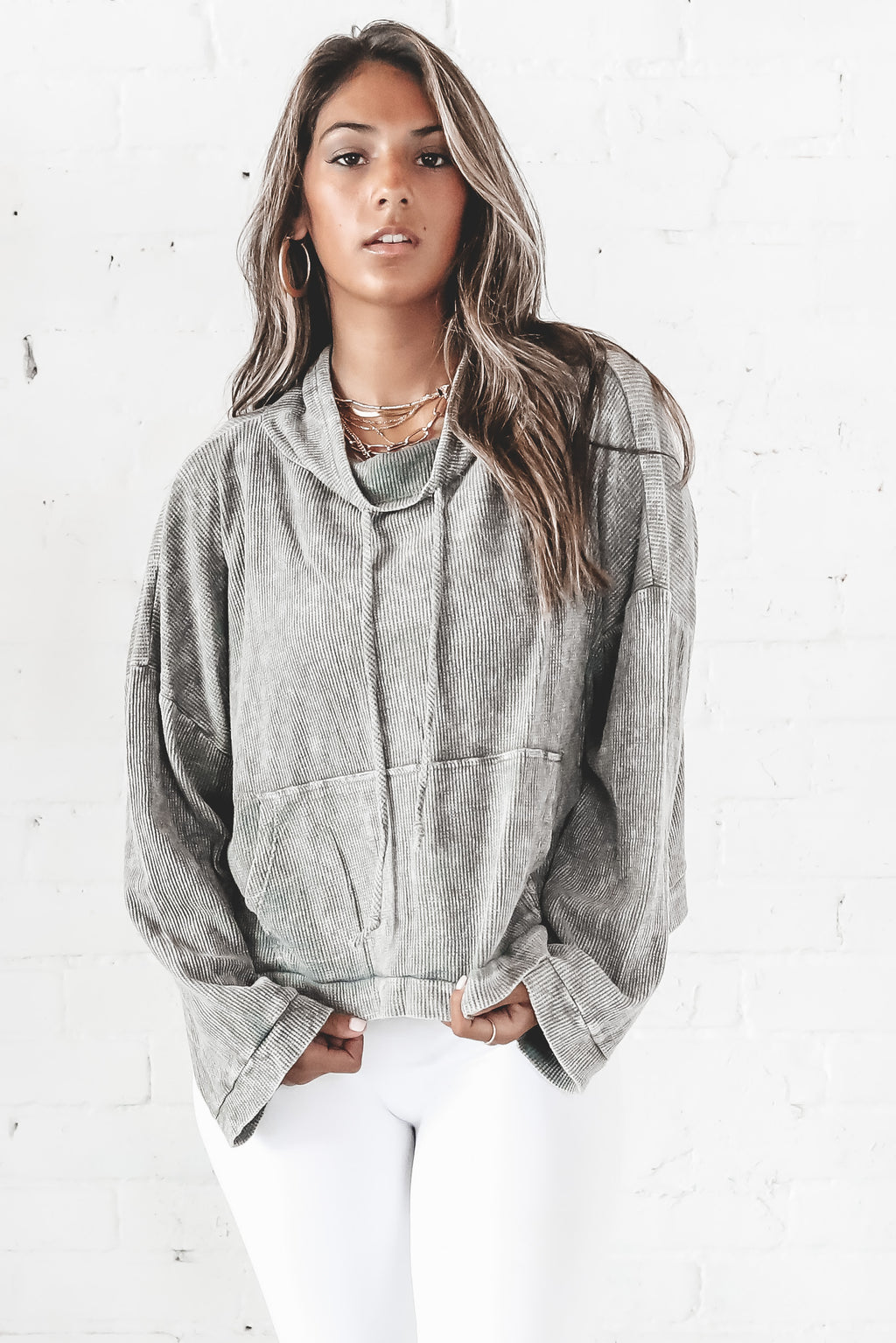 Needed Somebody Gray Cowl Neck Hoodie