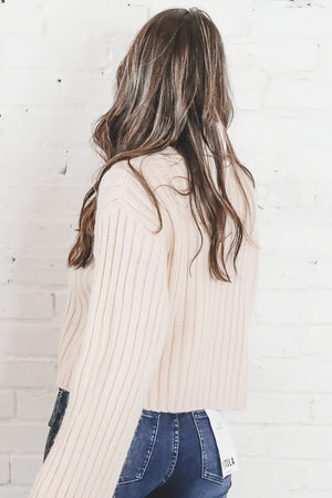 What'd You Have In Mind Cream Crop Turtleneck Sweater