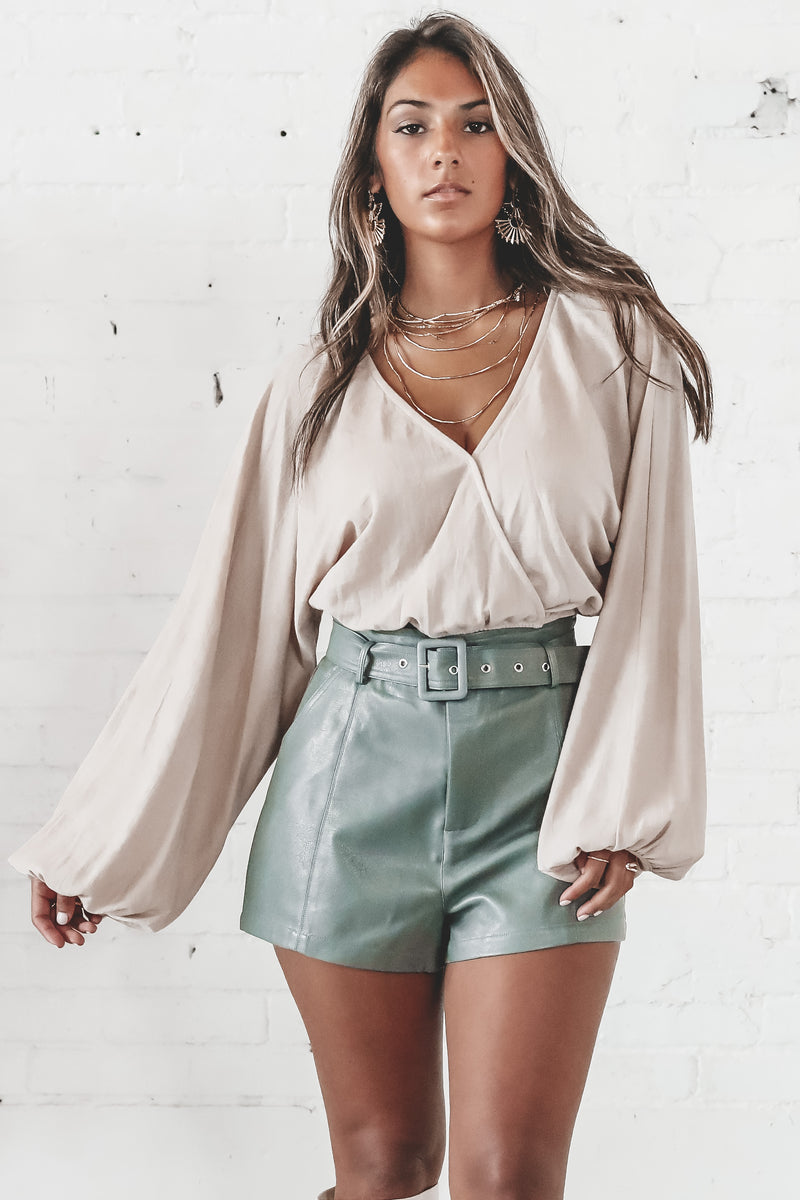 Feels Like Forever Tan Balloon Sleeve Top