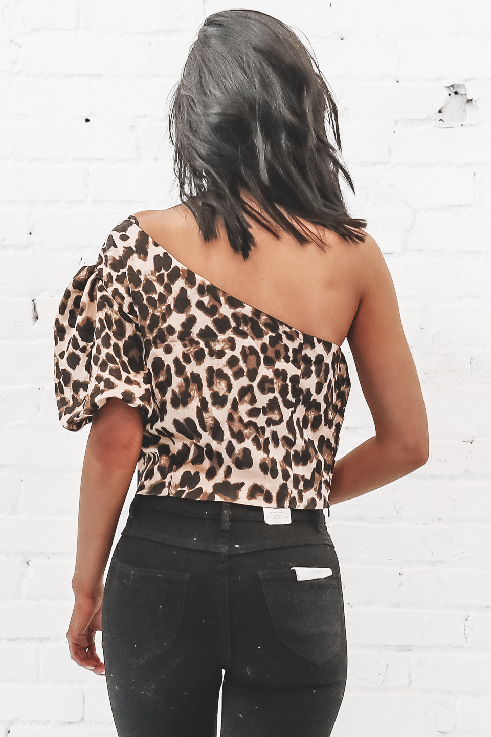 We Love To See It Satin Leopard One Shoulder Top
