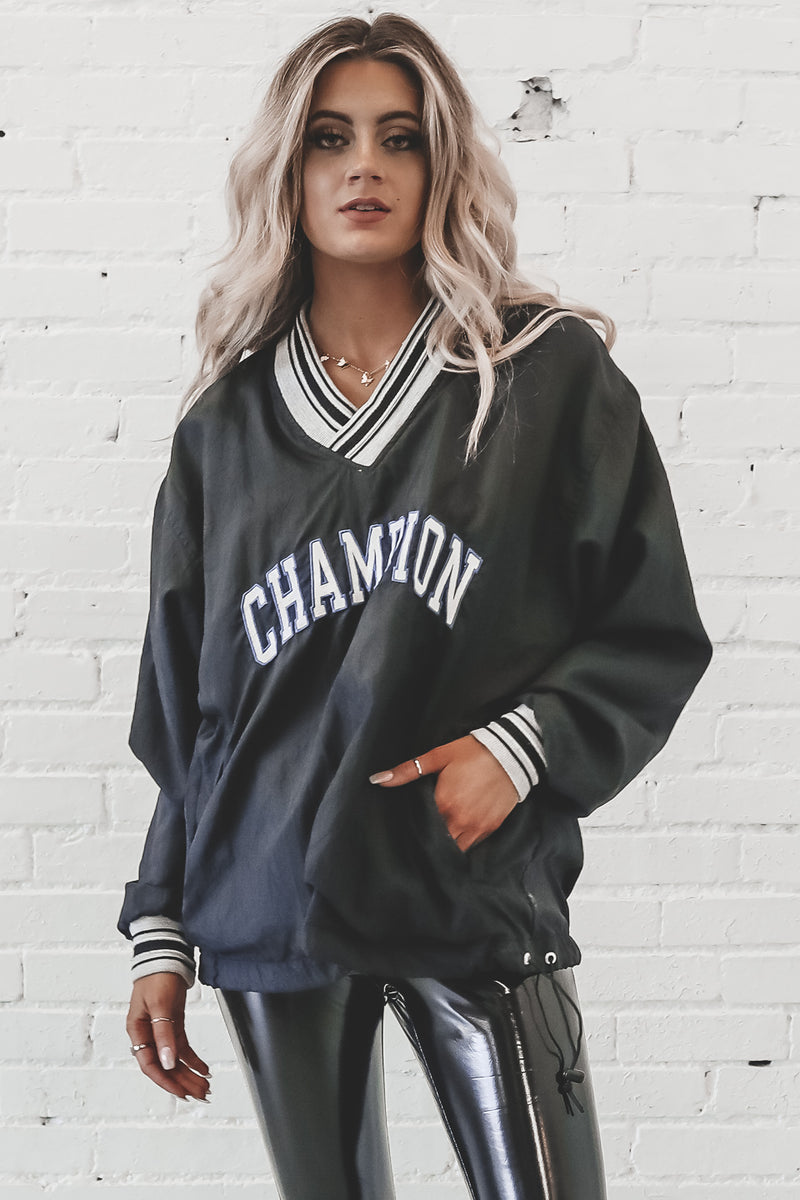 VINTAGE 90s Black Champion Windbreaker