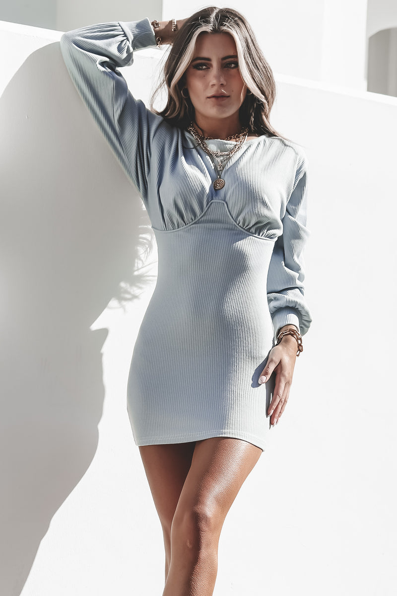 Here Comes The Bride Blue Long Sleeve Dress