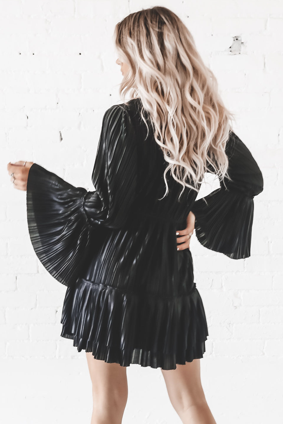 Come Over Black Sparkly Long Sleeve Tiered Dress