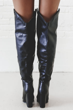 Kickstart My Heart Black Over The Knee Western Boots