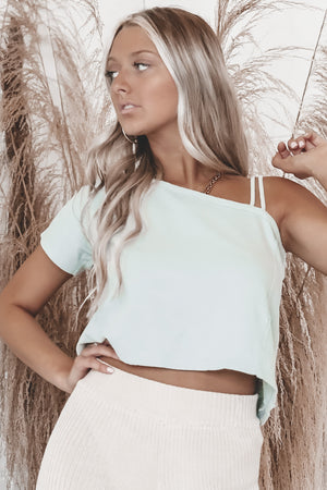 Talk Your Talk Sage Cropped Tee