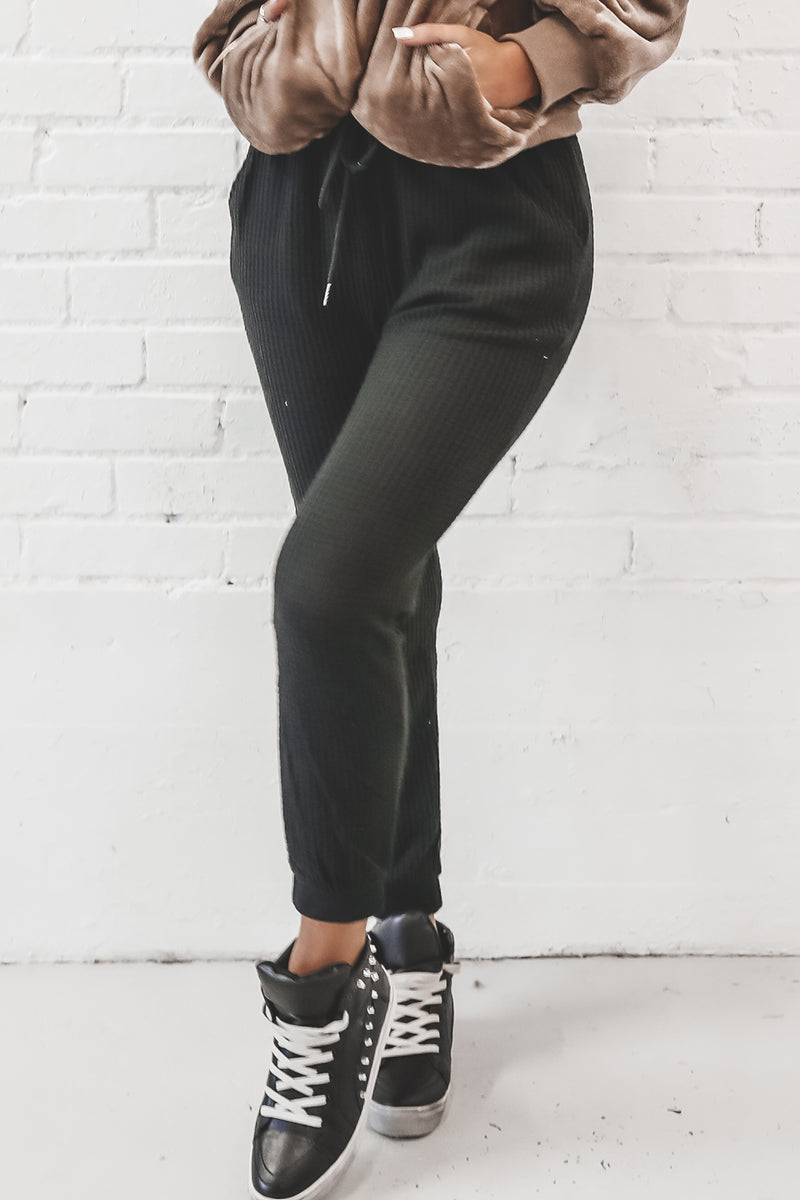 Jog Your Memory Black Waffle Knit Joggers