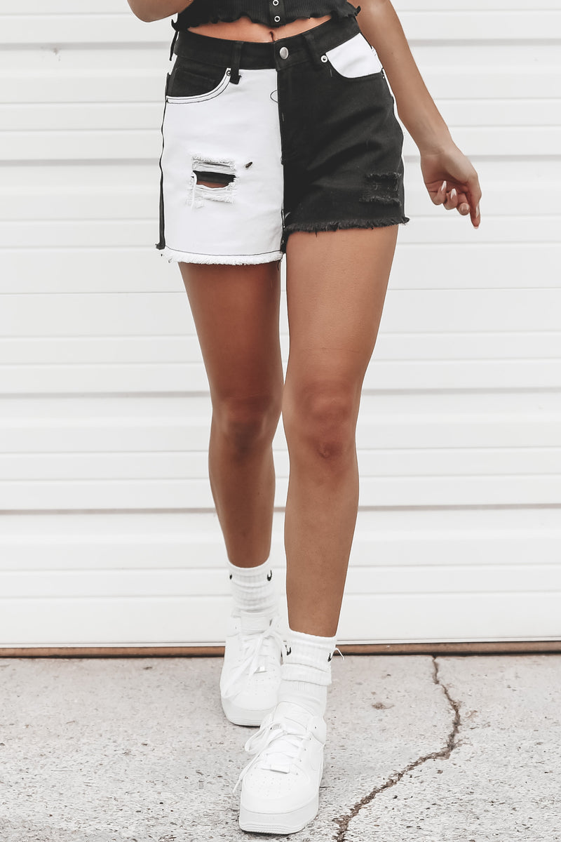 Best For Last Black And White Colorblock Shorts