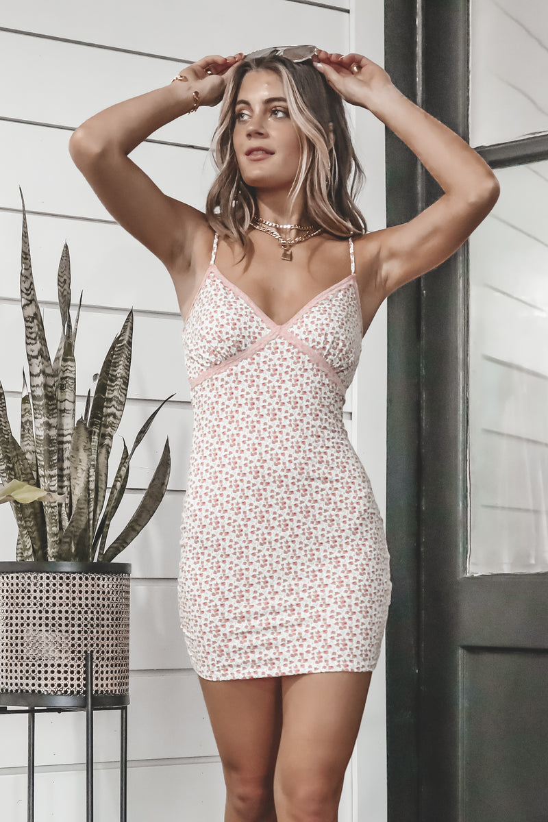 Meet Me Halfway Pink Floral Mini Dress