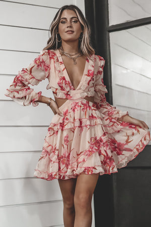 Wanna Tango With Me Pink And Red Floral Dress