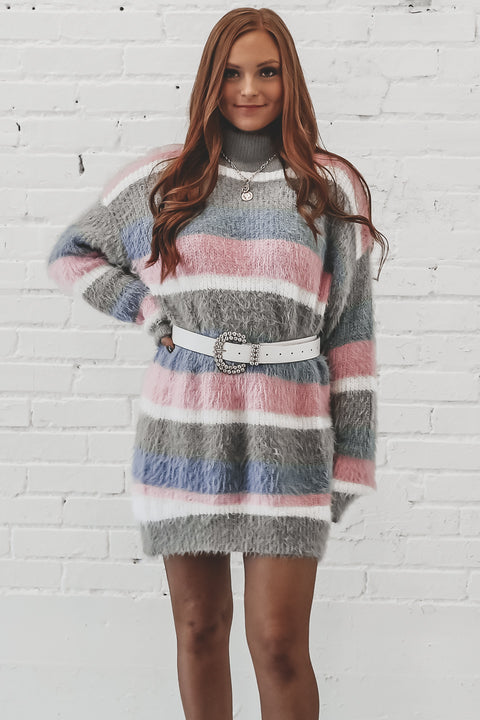 Work It Sister Gray Mock Neck Striped Sweater Dress