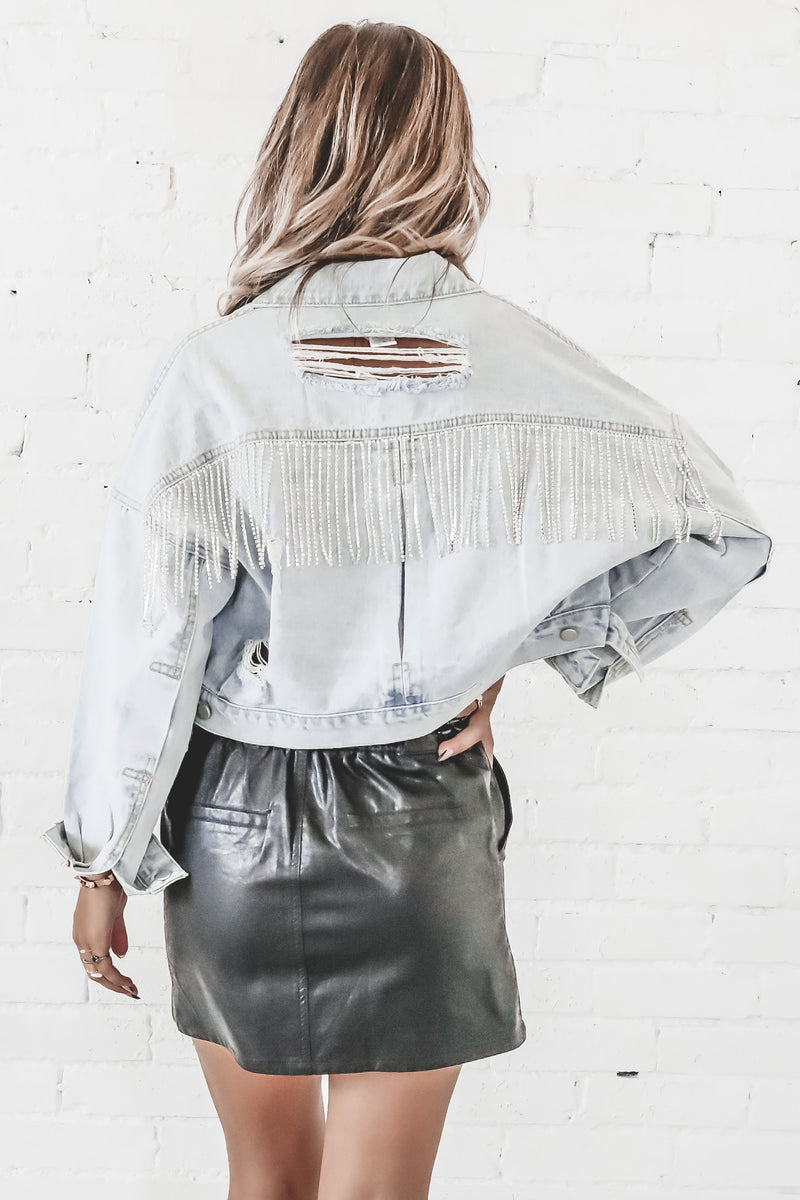Let's Get This Party Started Rhinestone Fringe Denim Jacket