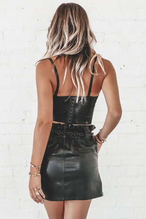 Cheers To You Black Metallic Corset Top