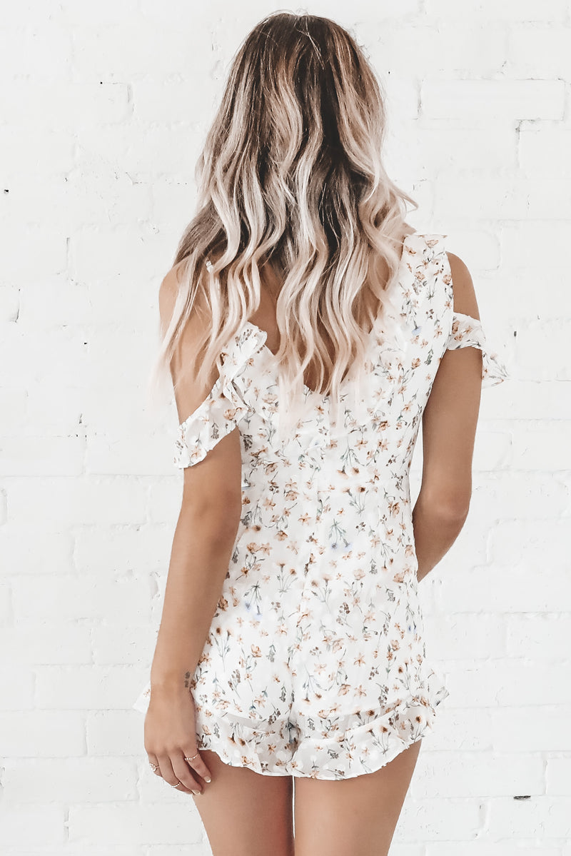 Ray Of Sunshine White Ruffled Romper
