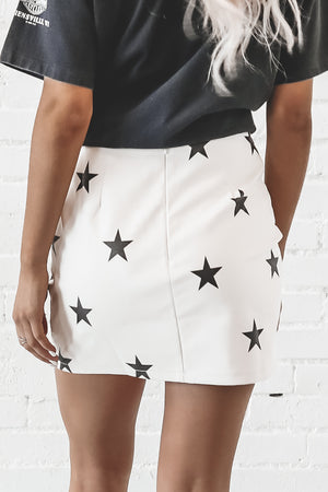 Shining Star White Leather Skirt