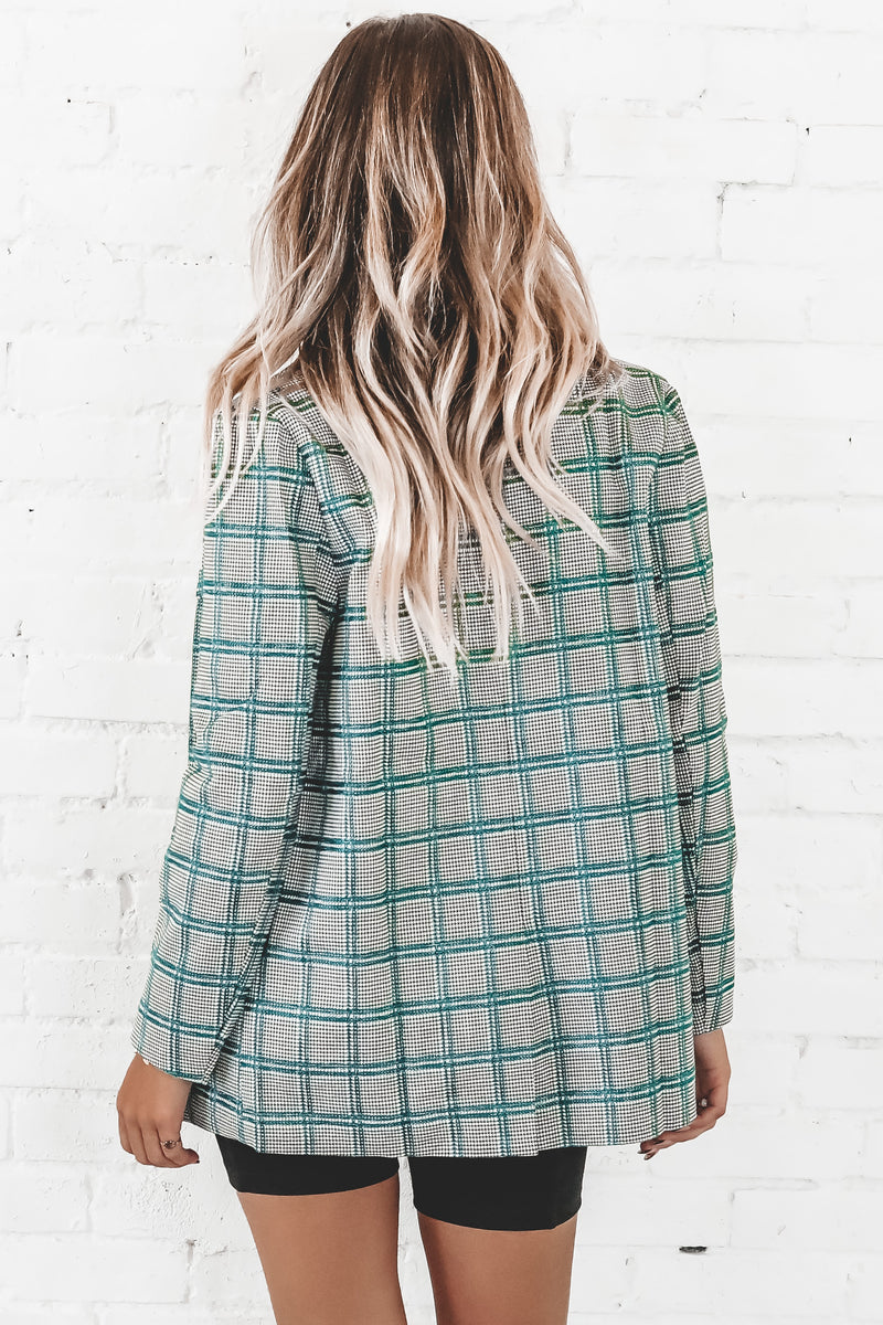 Clueless Green Plaid Boyfriend Fit Blazer