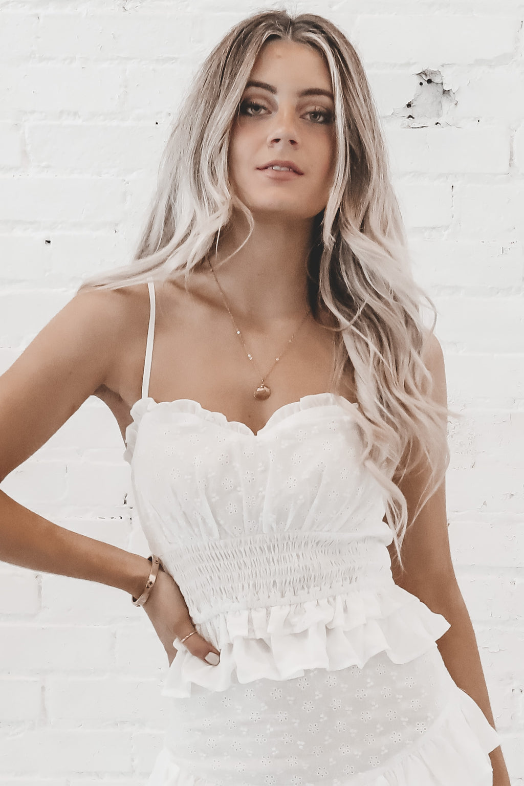 Lost In The Memories White Smocking Cami