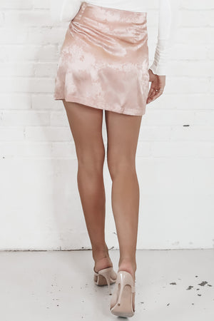 Head Held High Slit Pink Satin Mini Skirt