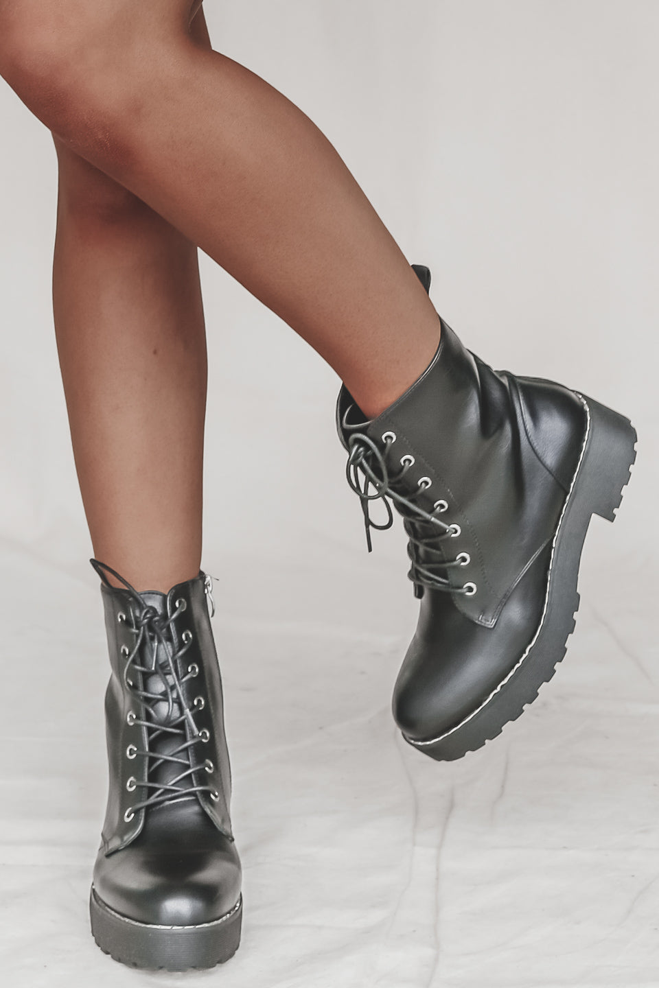 Umm As If! Black Smooth Platform Boots