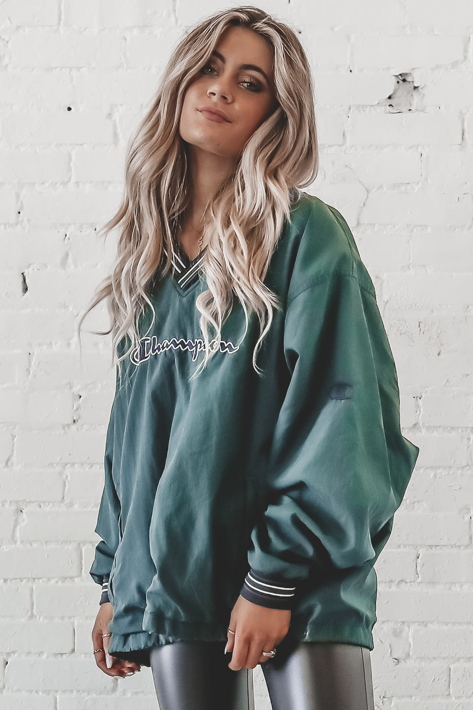 VINTAGE 90s Green & White Champion Windbreaker 259