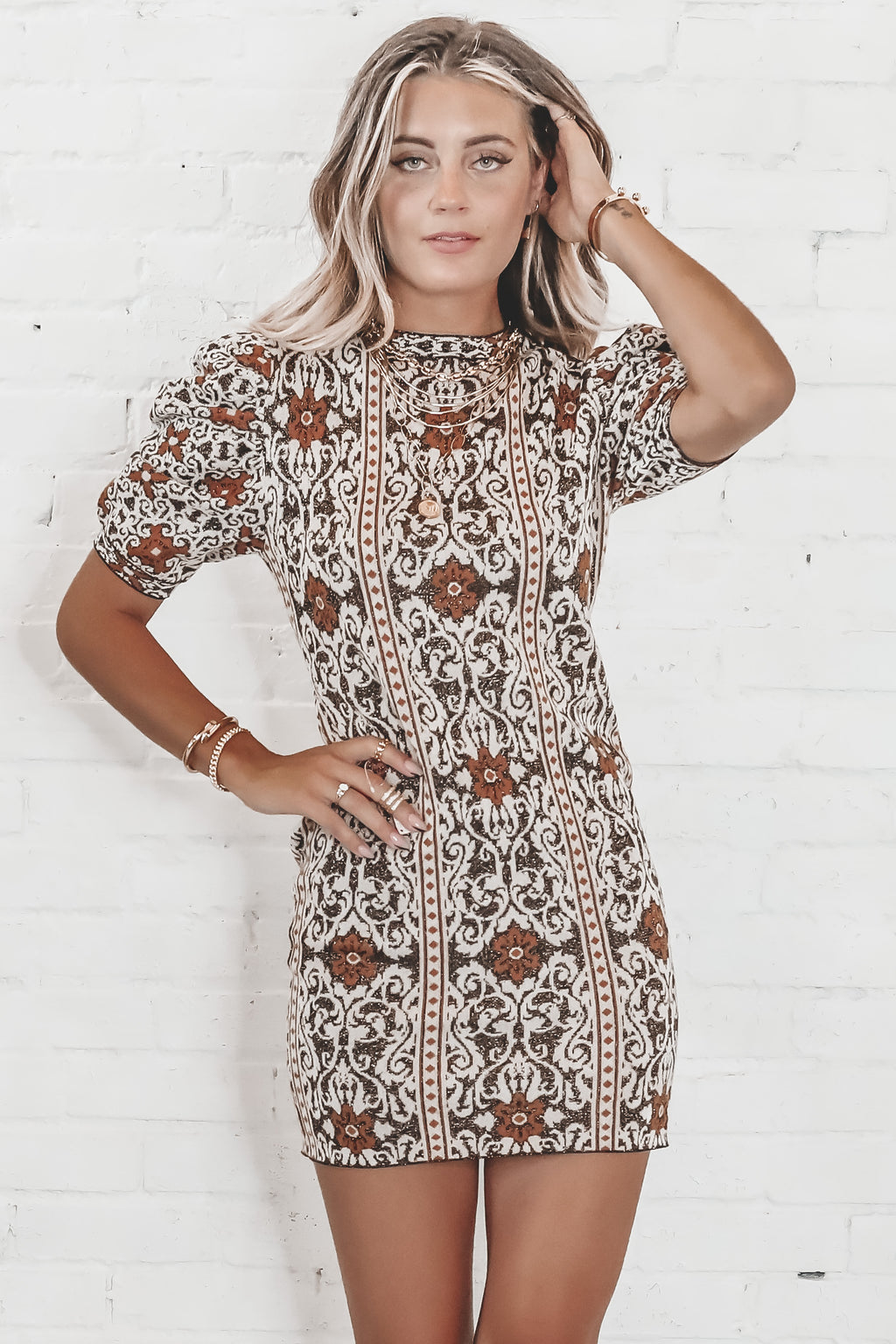 Find What I'm Looking For Jacquard Sweater Dress