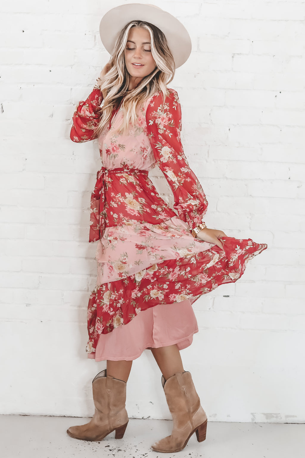 Be Mine Red And Pink Floral Print Midi Dress