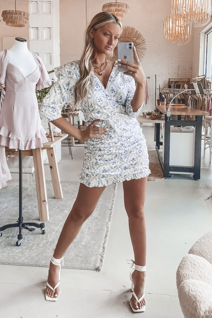 Every Rose Blue And White Ruched Dress