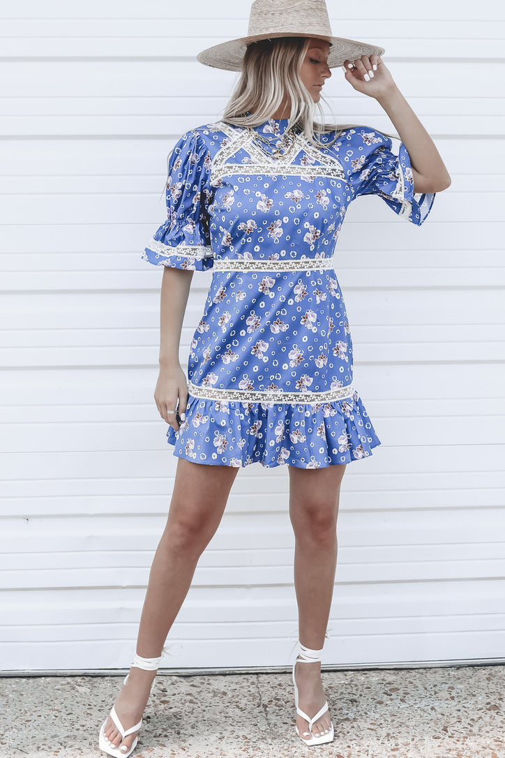 You Blue Mini Away High Neck Mini Dress