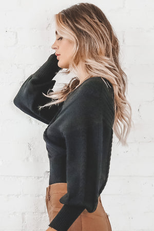 Into The Night Black V Neck Knit Sweater