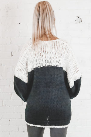 Wide Awake Black And Ivory Colorblock Cardigan