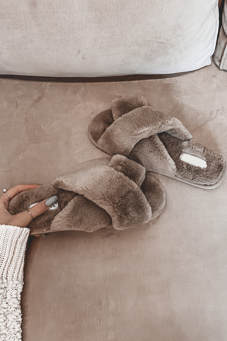 Slumber Party Taupe Faux Fur Slippers