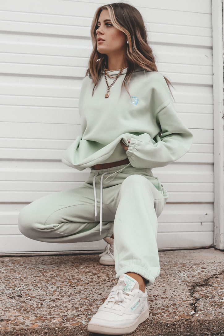 DAISY STREET Mint Heart Ying Yang Embroidered Hoodie