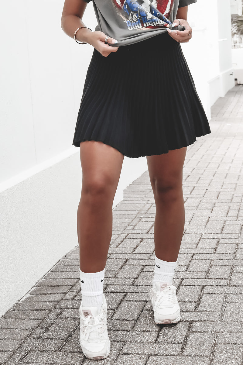 Better Than Ever Black Mini Skirt