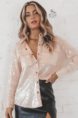 It's A Girls World Pink Sequin Button Up Top
