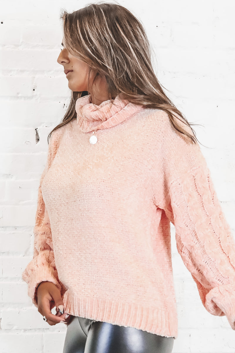 MINKPINK Jane Roll Neck Knit Baby Pink Sweater