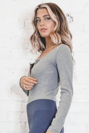 Let's Get Together Gray Long Sleeve Ribbed Bodysuit