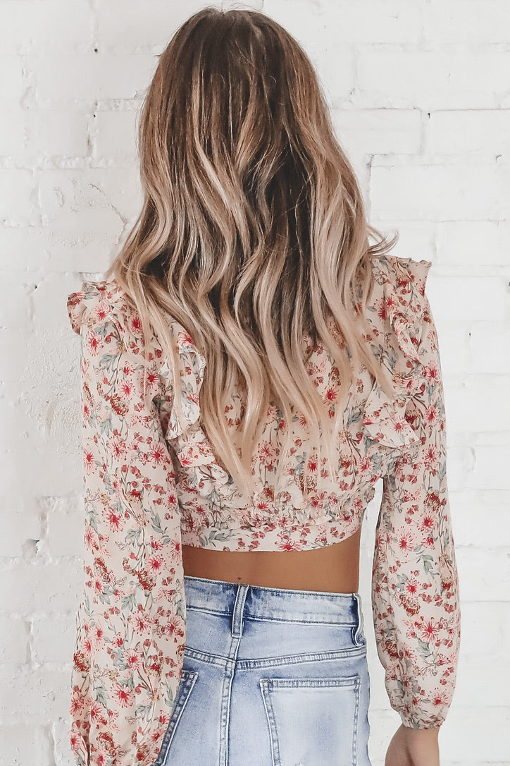 Just Say The Word Beige Floral Wrap Top