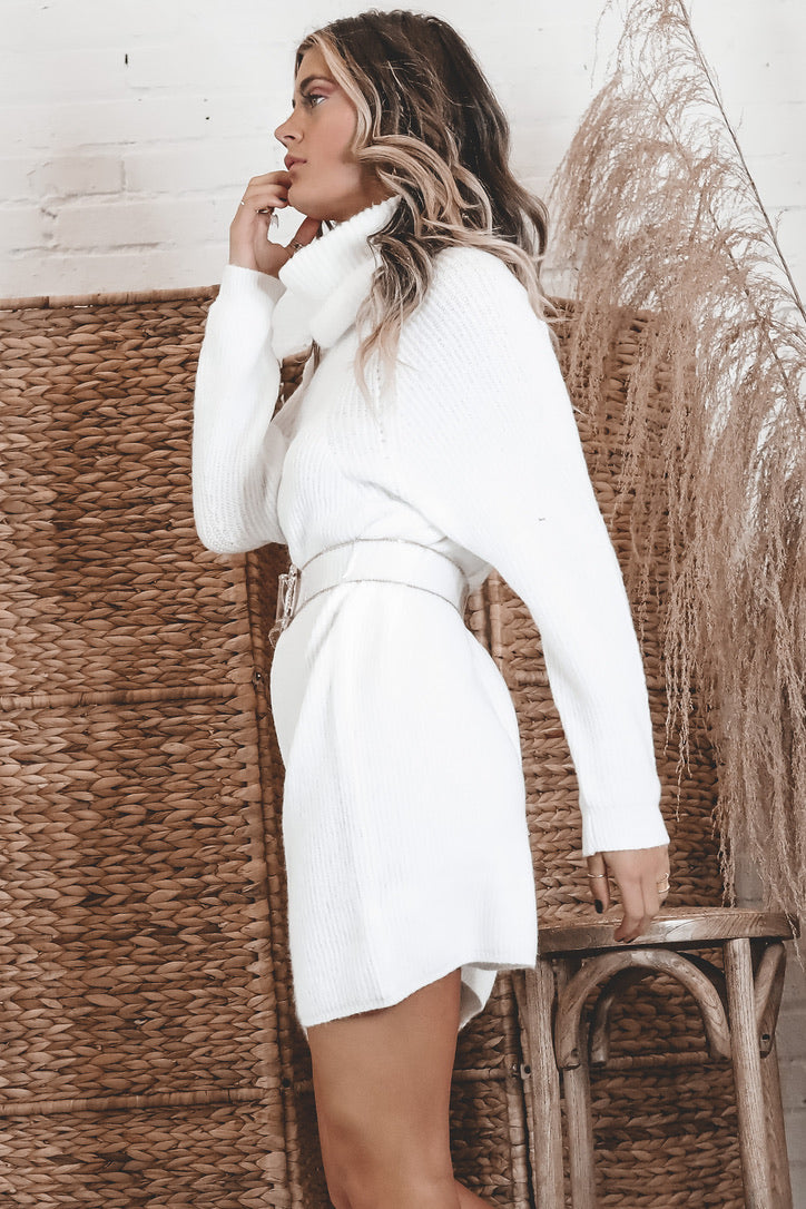 Rooftop Cocktails White Sweater Dress