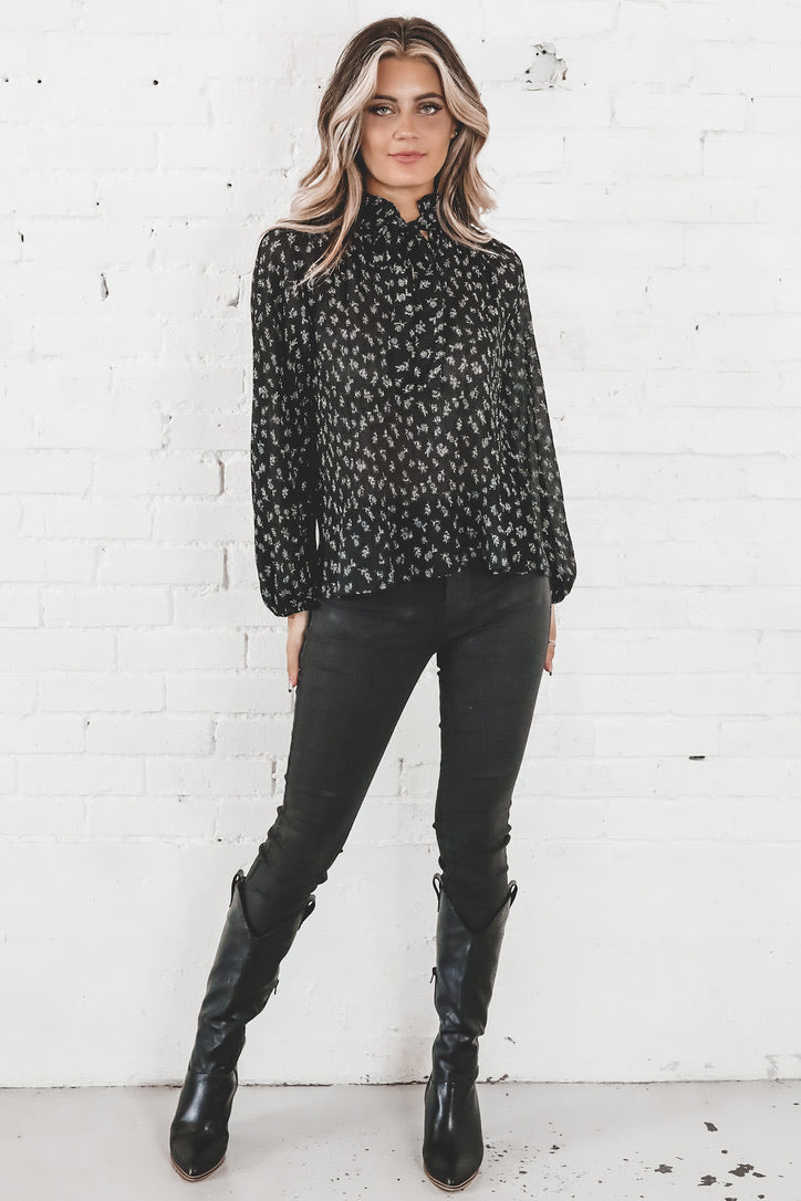 Love Me Like You Do Black Floral Tie Neck Blouse