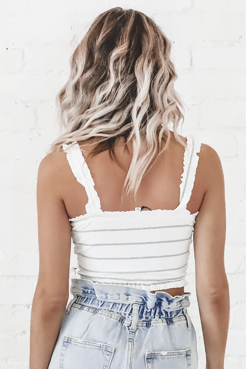 Pure Bliss White Smocked Crop Top