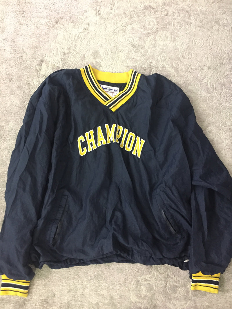 VINTAGE 90s Navy & Yellow Champion Windbreaker
