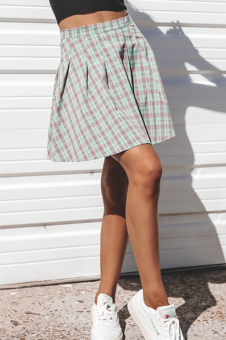 DAISY STREET Checkered Green Mini Skirt