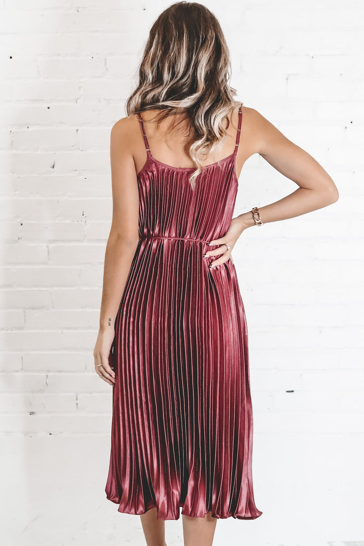 Wine Me Satin Pleated Dress