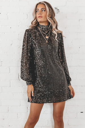 Here To Slay Black And Gold Sequin Mini Dress