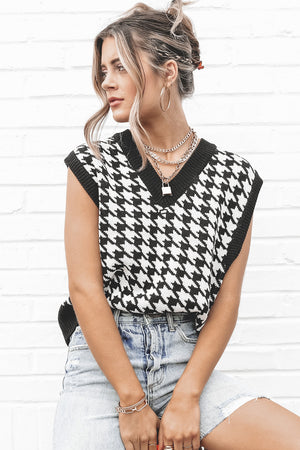 Up To Par Black Houndstooth Sweater Top