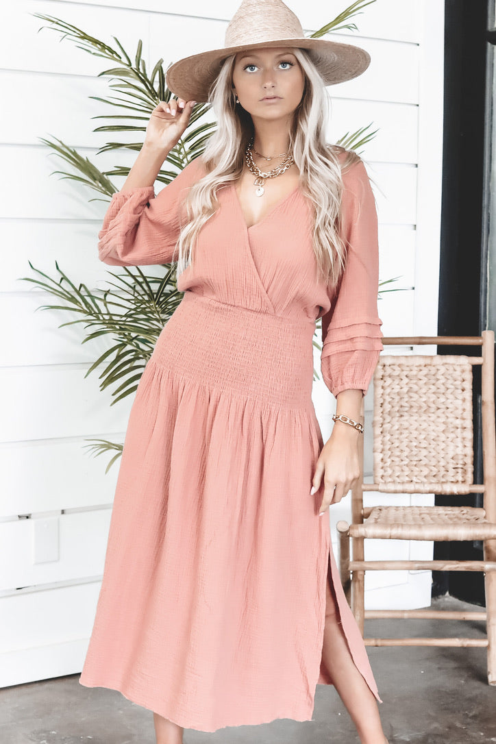 MINKPINK Fable Midi Blush Dress
