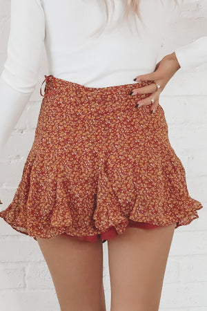 Dance To This Red Clay Mini Skirt