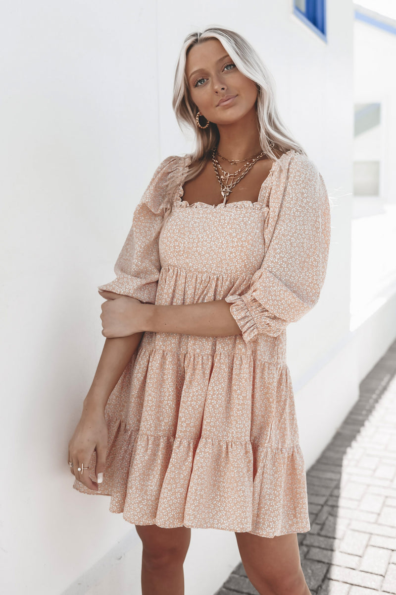 All In Apricot Floral Dress