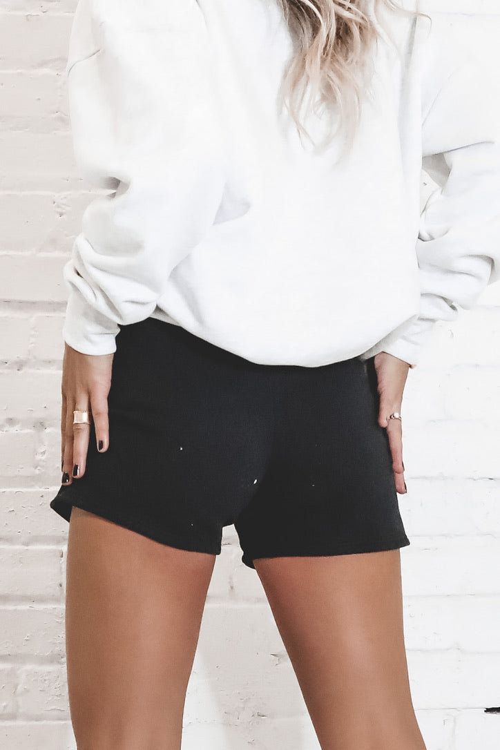 JOAH BROWN Black French Terry Fitted Sweat Shorts