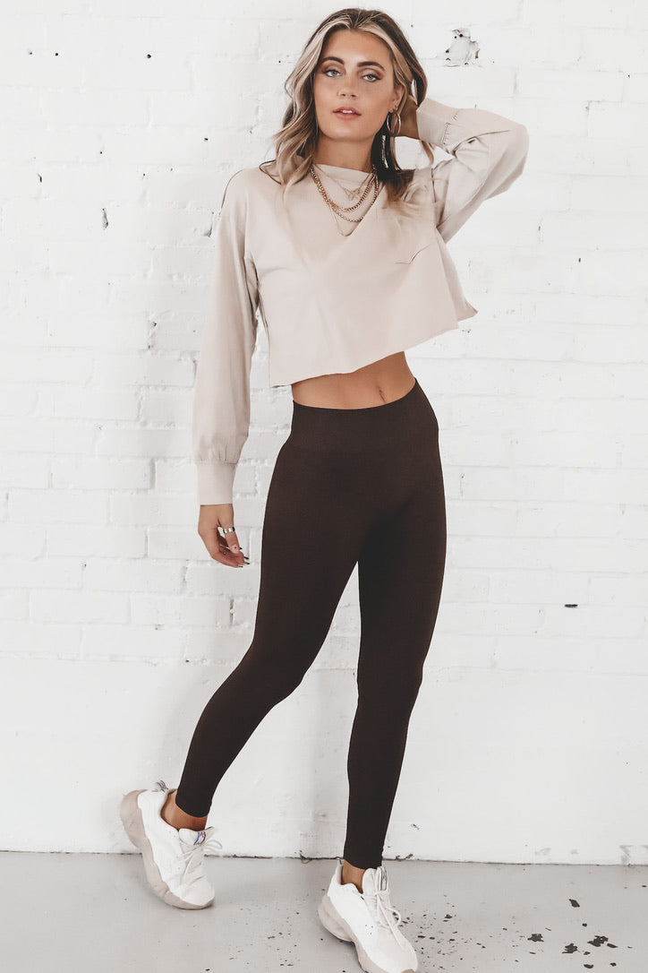 Run This Way Mocha Long Sleeve Crop Top