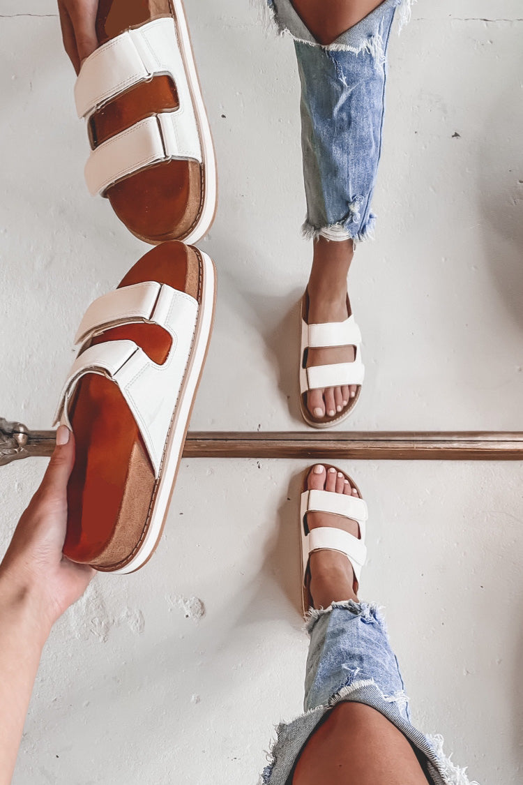 Call It What You Want White Two Strap Sandals